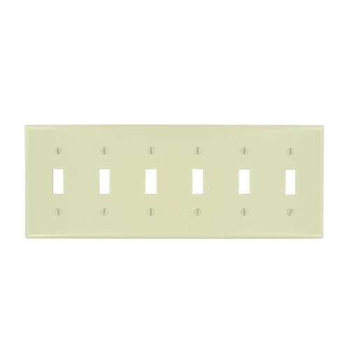 Leviton 86036 6-Gang Toggle Device Switch Wallplate, Thermoset, Device Mount, - Toggle 6 Wall Plate