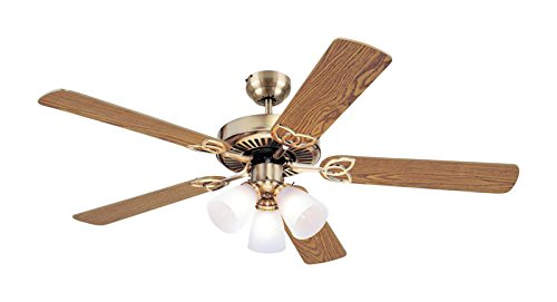 Westinghouse Lighting 7804265 Vintage 52 Inch Ceiling Fan, Antique Brass Finish