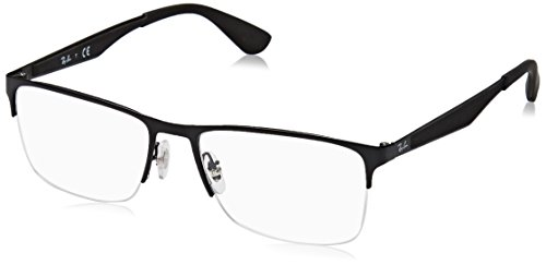 Ray-Ban RX6335 Rectangular Metal Eyeglass Frames, Matte Black/Demo Lens, 54 mm (Ray-bans Rx)