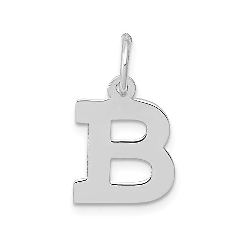 Jewelry Pendants & Charms Themed Charms 14k White Gold Small Block Initial B Charm ()