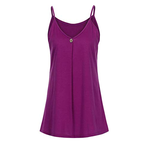 - Women Casual Crop Top, JOYFEEL  Ladies Summer Loose Button Vest Top Solid Color Strappy Pleated Camisole Blouse Hot Pink