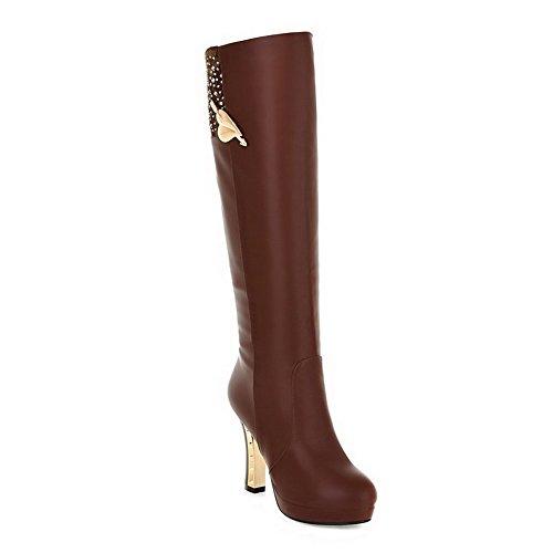 Amoonyfashion Mujer Round Round Toe High Heels Pu Soft Material Solid Botas Con Plataforma Marrón