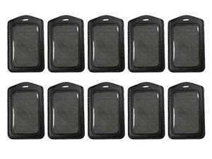 KLOUD City 10 pcs vertical style Black leather business ID badge card holder with slot & chain Holes - City Badge