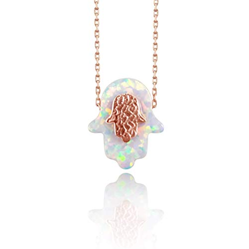 White Hamsa Hand Of Fatima Hamsa Necklace for Women in Rose Gold | Alef Bet by Paula ()