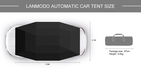 LANMODO Car Tent, Automatic Car Umbrella with Anti-UV, Water-Resistant, Proof Wind, Snow, Storm, Falling Objects Features, Fit to All Cars (BLACK/SILVER/BLUE) by Lanmodo (Image #4)