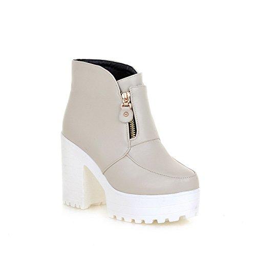 Chunky en fermeture AdeeSu imitées avec glissière à Platform Girls Heels Bottes Blanc cuir xq5Uw5X1zn