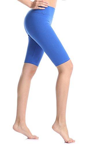 (ABUSA Women's Cotton Workout Bike Yoga Shorts - Tummy Control M Royal Blue)