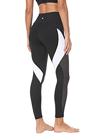 f65bf4fa85 QUEENIEKE Women Yoga Pants Color Blocking Mesh Workout Running Leggings  Tights