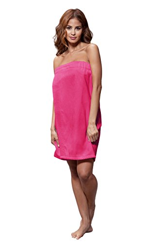 Turquaz Linen Cotton Terry Velour Spa, Bath, Pool, Gym Towel Body Wrap With Adjustable Velcro (Fuchsia) (Body Wrap Terry)