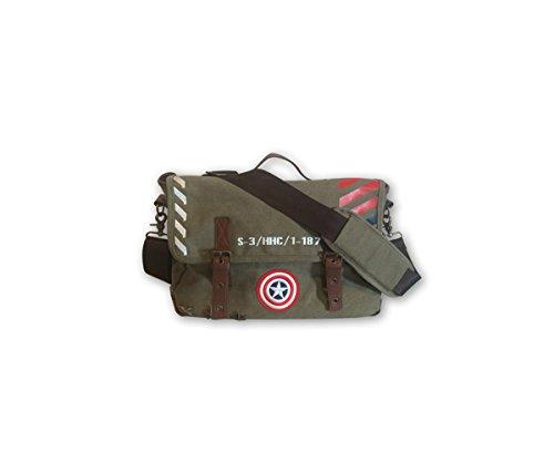 Mozlly Value Pack–Marvel Comics Captain America vintage militare esercito borsa messenger e retro Collection porta passaporto (2articoli)–item # K117001–�?17005