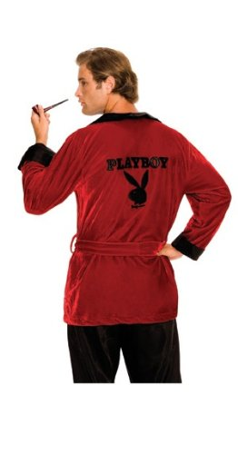 Playboy Hugh Hefner Costumes (Secret Wishes Men's Playboy Hugh Hefner Smoking Jacket Costume, Burgundy, X-Large)