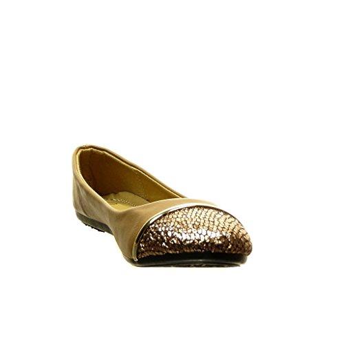 Angkorly - Zapatillas de Moda Bailarinas bimaterial slip-on mujer dorado Talón tacón plano 0 CM - Caqui