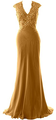 Mother Dress Evening of Women MACloth V Bride The Lace Gown Formal Gold Neck Chiffon x8qBwqa