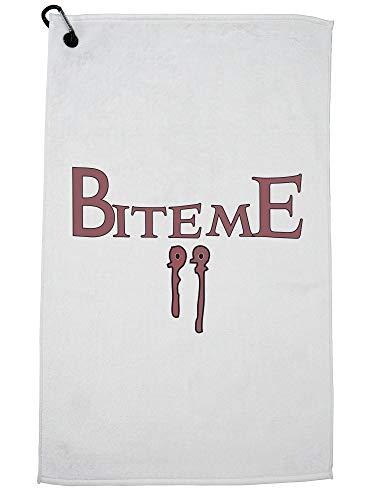 Vampire Bite Me Fang Mark Halloween Golf Towel with Carabiner Clip]()