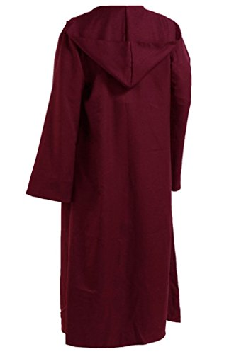 Men TUNIC Hooded Robe Cloak Knight Fancy Cool Cosplay Costume, Burgundy -