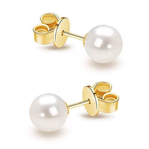 14K Gold AAA+ Handpicked Round Freshwater Cultured White Pearl Stud Earrings for Women Girls (yellow-gold, 5.5-6mm)