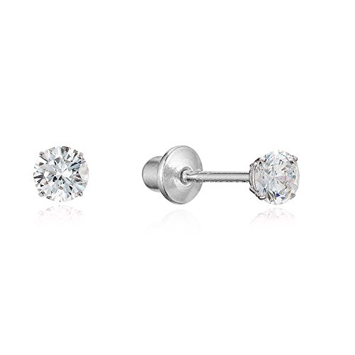 Sterling Silver Rhodium Plated 2mm Basket Set Stud Screwback Girls Earrings