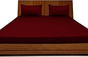 Brightlinen Burgundy Double (135 X 190 Cm) Fitted Sheet Solid(pocket Size: 42 Cm) 3pcs