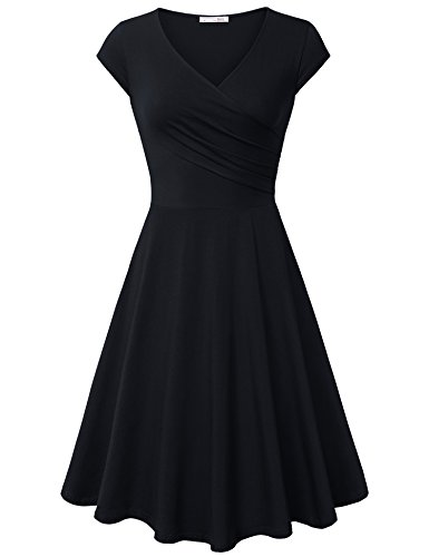 Messic Direct Women's Cross V Neck Dresses Cap Sleeve Elegant Flared A Line Dress Black Large
