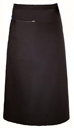 (Restaurant Bistro Waiter Waitress Black Waist Apron XLong Length with Multiple Pockets)