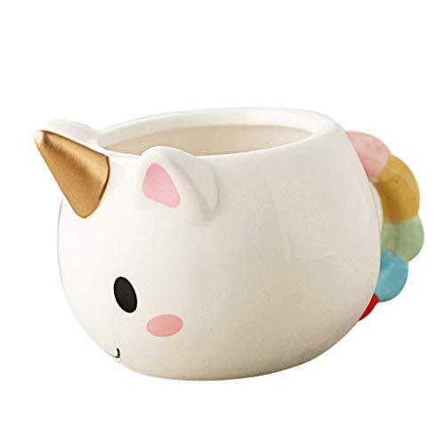 2GOGEEKS Taza Ceramica En Forma De Unicornio Con Cuerno 250 ml. para Café, Té y Bebidas Calientes