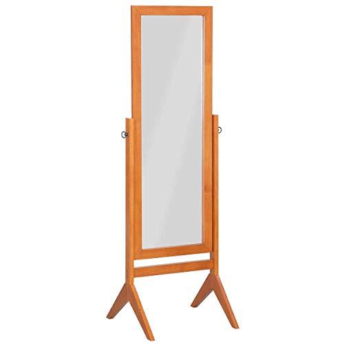 Solid Wood Frame Mirror - COSTWAY Bedroom Wooden Full Length Cheval, 100% Solid Oak Wood Frame Rustic Rotary Swivel, Free Standing Home Floor Dressing Mirror