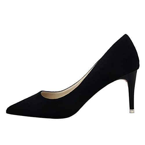 Amoonyfashion Dames Pull-up Spikes Stilettos Geïmiteerd Suede Puntige Gesloten Teen Pumps-schoenen Zwart
