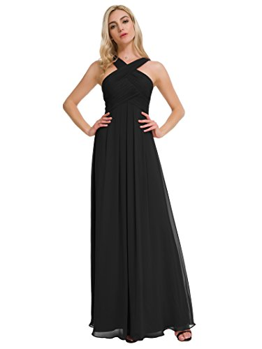 Alicepub Pleated Chiffon Bridesmaid Dresses Formal Party Evening Gown Maxi Dress for Women, Black, US4