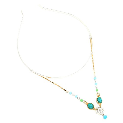 Turquoise & Rosette Draped Metal Chain HeadBand For Women / AZFJHB297-AST