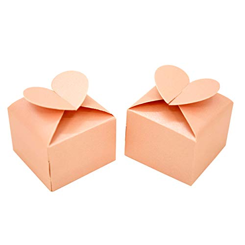 Pink Heart Bachelorette Party Favors Boxes Small Wedding Bridal Shower Party Candy Treat Gift Boxes Baby Shower Birthday Valentines Party Favors Boxes Supplies, 50Ct