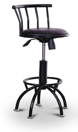 1 - 24'' to 29'' Adjustable Black Metal Bar Stool with a Black Vinyl Swivel and Tilt Seat Cushion (Swivel High 29' Seat)