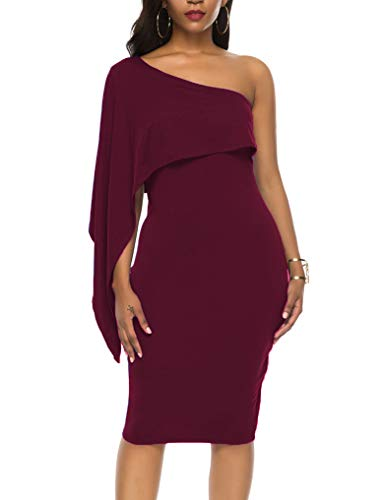 Women's Modest Sleeveless Batwing Cape Top Sexy One Shoulder Bodycon Midi Club Dresses Burgundy XL