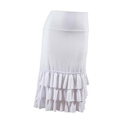 (Peekaboo-Chic Bring On The Frill Half Slip Skirt Extender - Ruffle Skirt Extender - Plus Size Skirt Extenders - 2X Bleach White)