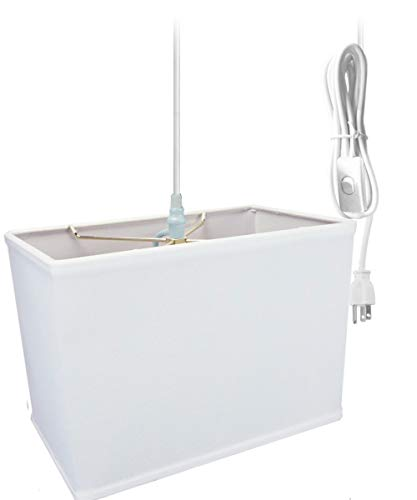 (Plug-In Pendant Light By Home Concept - Hanging Swag Lamp Rectangular White Drum Shade - Perfect for apartments, dorms, no wiring needed (White, White One-light))