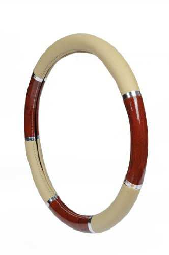 Allison 54-6620 Tan with Dark Wood Grip Steering Wheel Cover