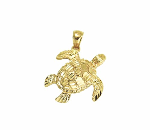 14k Solid yellow gold sparkly diamond cut Hawaiian sea turtle honu pendant (14k Sea Turtle)