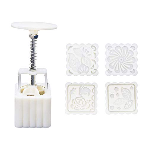 75G Mooncake Mold - Square Hand Press Cookie Stamps, DIY Baking Moon Cake Stamps, Bath Soap Mold, Cookies Cutters with 4 Stamps for Kitchen Mid Autumn Festival