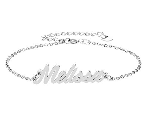 HUAN XUN Melissa Name Bracelet for Womens Girls Jewelry Gifts Stainless Steel ()