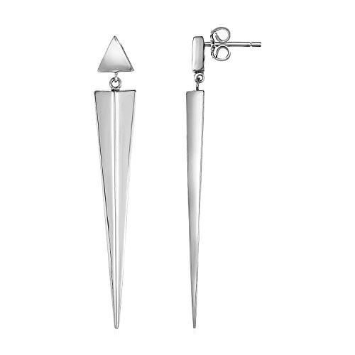 Mia Diamonds Long Twisted Vertical Bar Earrings in 925 Sterling Silver ()