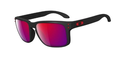 (Oakley Holbrook OO9102-36 Iridium Sport Sunglasses,Matte Black/Positive Red Iridium,55 mm)