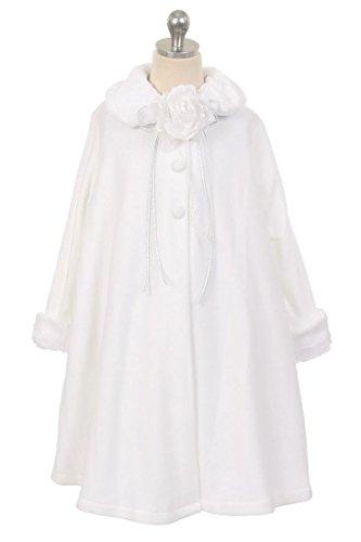 (Cozy Fleece Long Sleeve Cape Jacket Coat - White Girl)