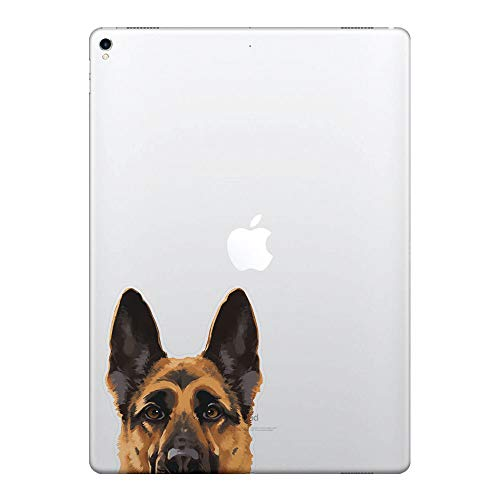 (FINCIBO 5 x 5 inch Black Tan German Shepherd Dog Removable Vinyl Decal Stickers for iPad MacBook Laptop (Or Any Flat Surface))