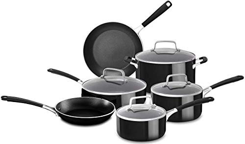 KitchenAid 12 Piece Heavy-Gauge 4.0 Stainless Steel Base Induction Dishwasher Safe Aluminum Nonstick Cookware Set Onyx…