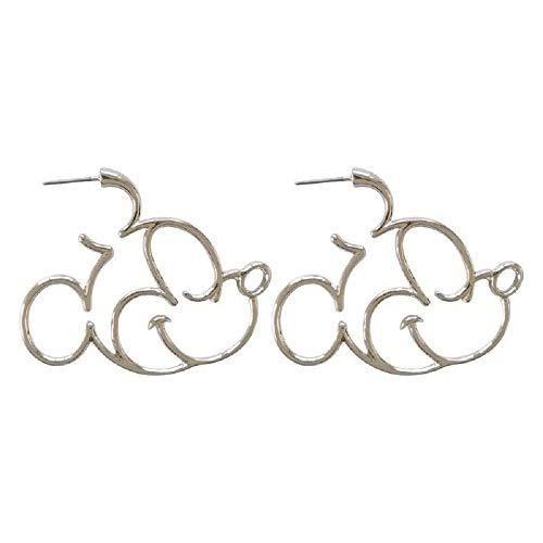(i&D Jewelry Silver Plated Black Gold Hidden Mouse Boys Drop Earrings Cute Bow Detail Girls Dangle Earring Large Hoop Earrings(Silver))