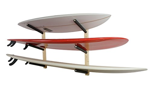 StoreYourBoard Surfboard Wall Rack - Wooden Surf Storage Rack for 3 Boards