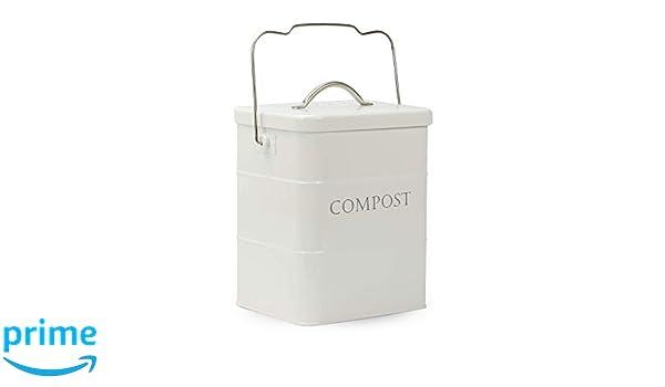 Papelera de compostaje de 3,5 L | Carro de comida blanca y ...
