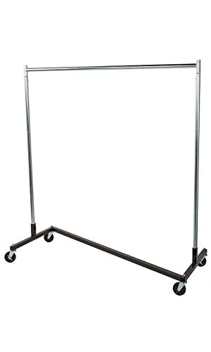 SSWBasics Single Rail Z-Truck Clothing Rack (Holds 300lbs and Locking Casters) - 63'' W x 24''D x 68''H