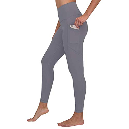 (Yoga Pants for Women,High Waist Out Pocket Pants Tummy Control Workout Running Stretch Leggings for Yoga Yamally Gray)