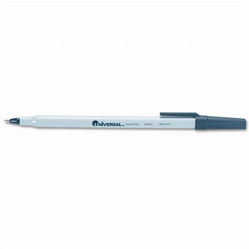 - Universal : Economy Stick Ballpoint Pen, Gray Barrel, Black Ink, Med Pt, 1.0 mm -:- Sold as 2 Packs of - 12 - / - Total of 24 Each