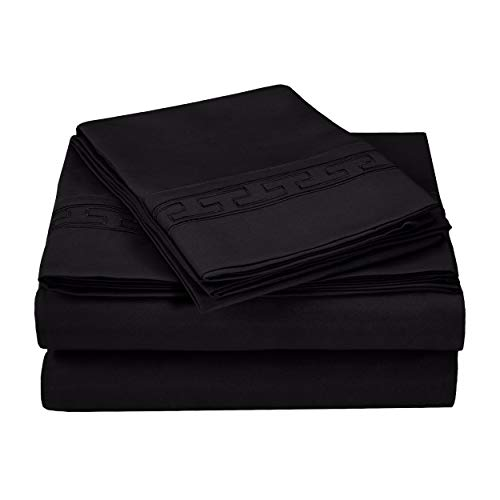 Superior Regal Greek Key Embroidered Sheets, Luxurious Silky Soft, Light Weight, Wrinkle Resistant Brushed Microfiber, Queen Size 4-Piece Sheet Set, Black
